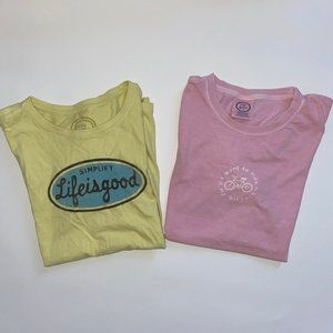 Lot of 2 Life is good Pink & Yellow T-shirt Tee